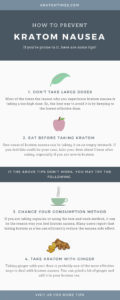 how to prevent kratom nausea infographic