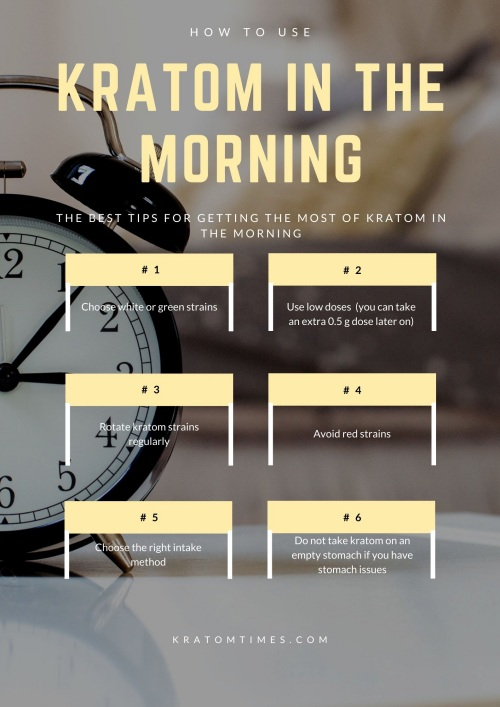 How to use kratom in the morning and best morning kratom strains - Infographic